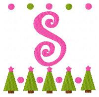 Christmas Tree Farm Monogram Embroidery Font Set
