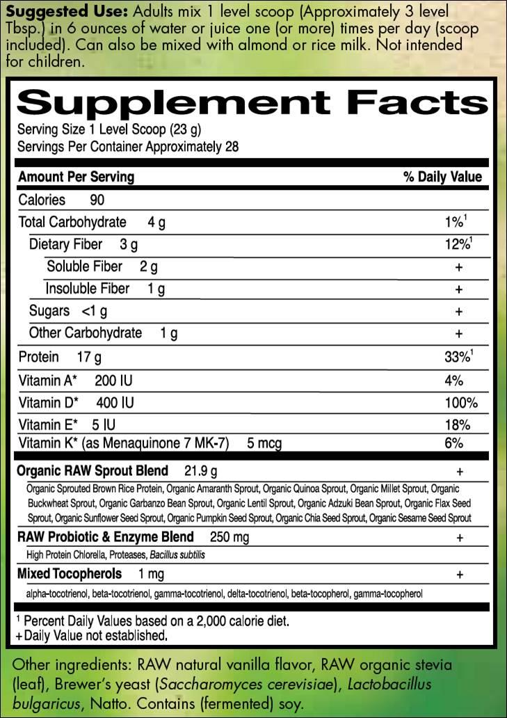 Garden of Life Raw Protein Vanilla Whisper 673 g