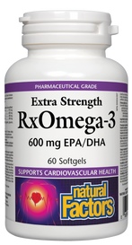 Natural Factors RxOmega-3 Factors Extra Strength Softgels (Choose Size)