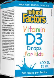 Natural Factors Vitamin D3 Drops for Kids 400 IU (15 mL)