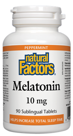Natural Factors Melatonin 10 mg Peppermint (90 sub tabs)