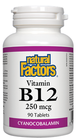 Natural Factors Vitamin B12 Cyanocobalamin 250 mcg (90 tabs)