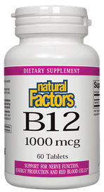 Natural Factors Vitamin B12 Cyanocobalamin 1000 mcg (60 tabs)