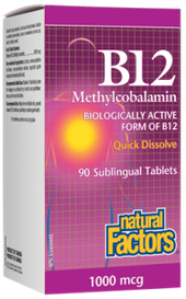 Natural Factors B12 Methylcobalamin 1000 mcg (90 sub tabs)