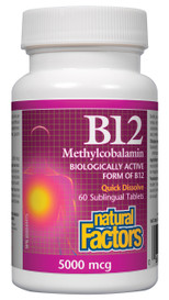Natural Factors B12 Methylcobalamin 5000 mcg (60 sub tabs)