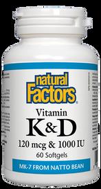Natural Factors Vitamin K & D (60 softgels)