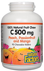 Natural Factors C 500 mg 100% Natural Fruit Chew Peach, Passionfruit and Mango (90 chews)