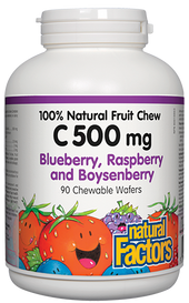 Natural Factors C 500 mg 100% Natural Fruit Chew Blueberry, Raspberry and Boysenberry (90 chews)