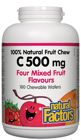 Natural Factors C 500mg 100% Natural Fruit Chew Four Mixed Fruit Flavours (180 chews)