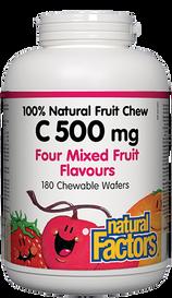 Natural Factors C 500mg 100% Natural Fruit Chew Four Mixed Fruit Flavours (180 chews)