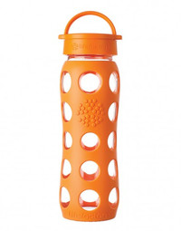 Life Factory Glass Water Bottle with Classic Cap and Silicone Sleeve Orange (22 oz)