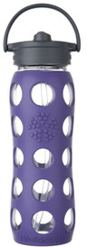 Life Factory Glass Water Bottle with Straw Cap and Silicone Sleeve Royal Purple (22 oz)