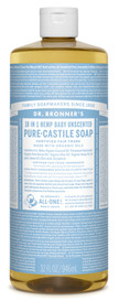 Dr.Bronners Castile Liquid Soap Unscented Baby-Mild (32 oz)