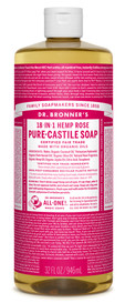 Dr.Bronners Castile Liquid Soap Unscented Rose (32 oz)