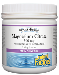 Natural Factors Magnesium Citrate Berry 300mg (250 g)