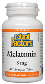 Natural Factors Melatonin 3 mg Peppermint (90 sub tabs)