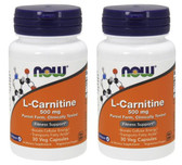 2-Pack Of L-Carnitine 500 mg 30 Vcaps, Now Foods, Boosts Cellular Energy