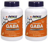 2-Pack Of GABA Chewable Natural Orange Flavor 90 Chewables, Now Foods Relaxation