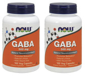 2-Pack Of GABA 500 mg 100 Caps, Now Foods, Stress