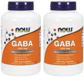 2-Pack Of GABA Natural Calming Effect 200 Caps, Now Foods, Stress, Mood Support