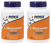 2-Pack Of L-Glutamine 500 mg 120 Caps, Now Foods, Exercise Recovery Muscle Mass