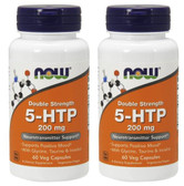 2-Pack Of 5-HTP 200 mg 60 Vcaps, Now Foods, Stress & Mood