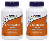 2-Pack Of L-Tryptophan 500 mg 120 Vcaps, Now Foods, Stress Relaxation