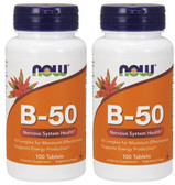 2-Pack Of Vitamin B-50 100 Tabs, Now Foods, Energy Production