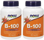 2-Pack Of Vitamin B-100 Caps 100 Caps, Now Foods, Energy Production