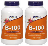 2-Pack Of B-100 250 Caps, Now Foods, Energy