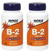 2-Pack Of B-2 100 mg 100 Caps, Now Foods, Metabolism Headaches