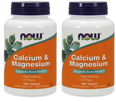 2-Pack Of Cal-Mag 500/250 mg 100 Tabs Calcium Magnesium, Now Foods