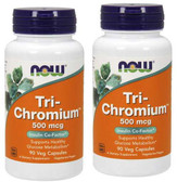 2-Pack Of Tri-Chromium 500 mcg 90 Veggie Caps, Now Foods, Blood Sugar