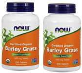 2-Pack Of Organic Barley Grass Green Superfood 500 mg 250 Tabs, Now Foods