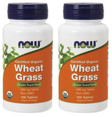 2-Pack Of Organic Wheat Grass 500 mg 100 Tabs, Now Foods