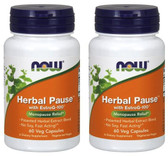 2-Pack Of Herbal Pause With EstroG-100 60 VCaps, Now Foods, Menopause Relief