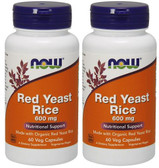 2-Pack Of Organic Red Yeast Rice Extract 600 mg 60 Vcaps, Now Foods, Cholesterol