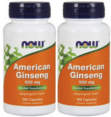 2-Pack Of American Ginseng 500 mg 100 Caps, Now Foods