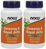 2-Pack Of Gins & Royal Jelly 300/300 mg 90 Caps, Now Foods, Immune