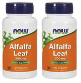 2-Pack Of Alfalfa Leaf 500 mg 100 Caps, Now Foods, Green Superfood