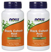 2-Pack Of Black Cohosh 80 mg 90 Caps, Now Foods, Menopause Cramps