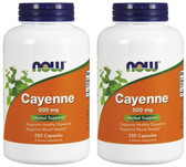 2-Pack Of Cayenne Vascular Health 500 mg 250 Caps, Now Foods Capsicum frutescens