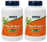 2-Pack Of Pau D' Arco 500 mg 250 Caps, Now Foods, Intestinal