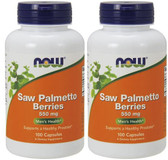 2-Pack Of Saw Palmetto 550 mg 100 Caps, Now Foods, Healthy Prostate Function