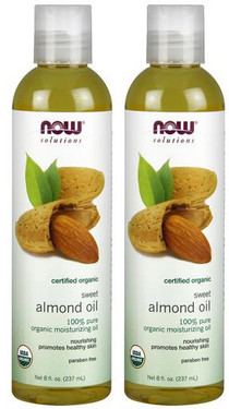2-Pack Of Organic Sweet Almond Oil 8 oz (237 ml), Now Foods, Massage Oil