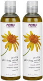 2-Pack Of Solutions Arnica Warming Relief Massage Oil 8 oz (237 ml), Now Foods