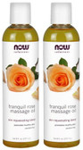 2-Pack Of Tranquil Rose Massage Oil 8 oz (237 ml), Now Foods, Skin Rejuvenating
