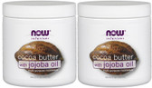 2-Pack Of Cocoa Butter with Jojoba Oil 6.5 oz, Now Foods, Healthy Radiant Skin