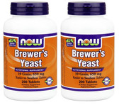 2-Pack Of Brewer's Yeast 650 mg 200 Tabs, Now Foods, Cholesterol Immune Function