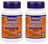 2-Pack Of 7-KETO 100 mg 60 Vcaps, Now Foods